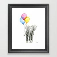 Baby Elephant with Balloons Nursery Animals Prints Whimsical Animal Framed Art Print