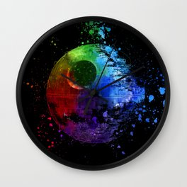 StarWars Death Star Abstract Colorful Digital Painting Wall Clock