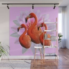 THREE FLORIDA FLAMINGOS VIOLET PINK FLORAL Wall Mural