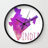 india Wall Clocks featuring India by Stephanie Wittenburg