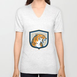 Angry Tiger Head Sitting Growling Shield Retro Unisex V-Neck
