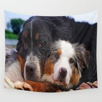 puppy Wall Tapestries featuring Puppy Love by Robin Curtiss
