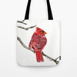 Winter Cardinal On White Tote Bag