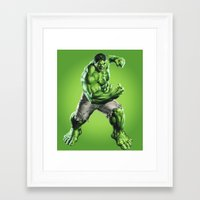 hulk Framed Art Prints featuring HULK by Hands in the Sky