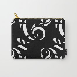 Monochrome pattern of white doodle and curls in floral ornament in ethnic style on a black backgroun Carry-All Pouch
