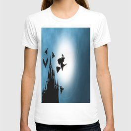 Blue Halloween Witch Silhouette T-shirt