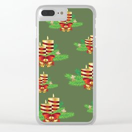 Decorative Christmas Candle Clear iPhone Case