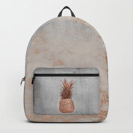 Pineapple in Glitter Marble Rose Gold And Concrete Backpack
