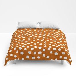 Texan texas longhorns orange and white university college football dots Comforters