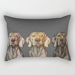 Triple Hunting Dogs in Dark Rectangular Pillow