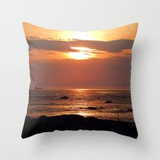 Sunset Seascape with Ship Throw Pillow