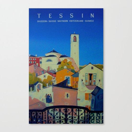 Vintage Tessin Switzerland Travel Canvas Print