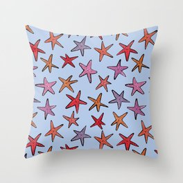 Starfishes in clear water Throw Pillow