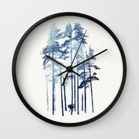 wolf Wall Clocks featuring Winter Wolf by Robert Farkas