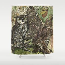 My owls in batik style Shower Curtain