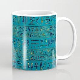 Egyptian hieroglyphs on teal leather texture Coffee Mug