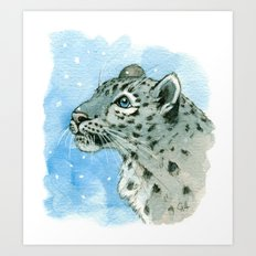 Snow Leopard & snowflakes 860 Art Print