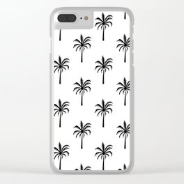 Palm Tree linocut minimal black and white summer tropical art pattern Clear iPhone Case