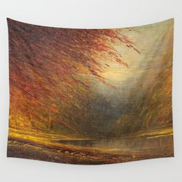 Autumn Leaves on the River Bank landscape painting by H. Joiner Wall Tapestry