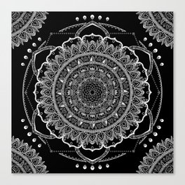 Black and White Geometric Mandala Canvas Print