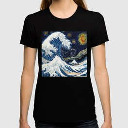Waves - Art - The Great Wave off Kanagawa -  Hokusai - Starry Night - Van Gogh - Surfing T-shirt