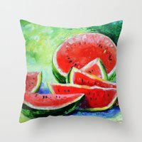 watermelon Throw Pillows featuring watermelon by OLHADARCHUK