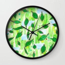 Modern Fresh Leaves Pattern in High Format Wall Clock