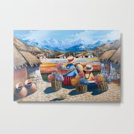 Peruvian Village Amid the Poppy and Calla Lily Fields in the Andes Mountains Metal Print
