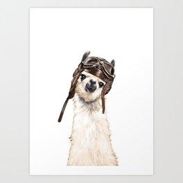 Pilot Llama Art Print