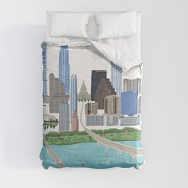 Austin Skyline Illustration Comforters