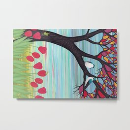 tree swallows in the stained glass tree with tulips and frogs Metal Print