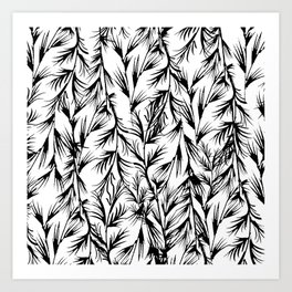 Tropical black white floral leaves pattern Art Print