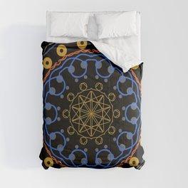 Oriental Mandala design on a black background Comforters