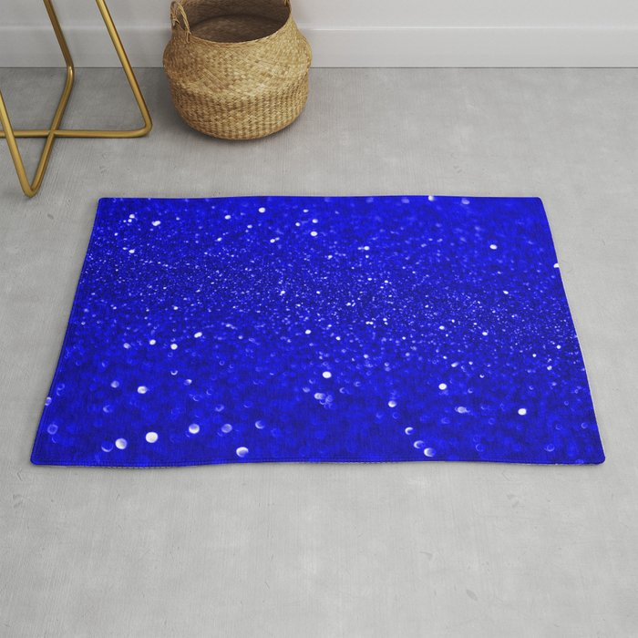 Bright Blue Glitter Rug By