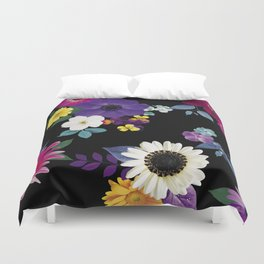 Bright flowers on a black background Duvet Cover