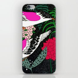Sgraffito Birds - Bright Fuchsia Botanical Birds and Flowers iPhone Skin