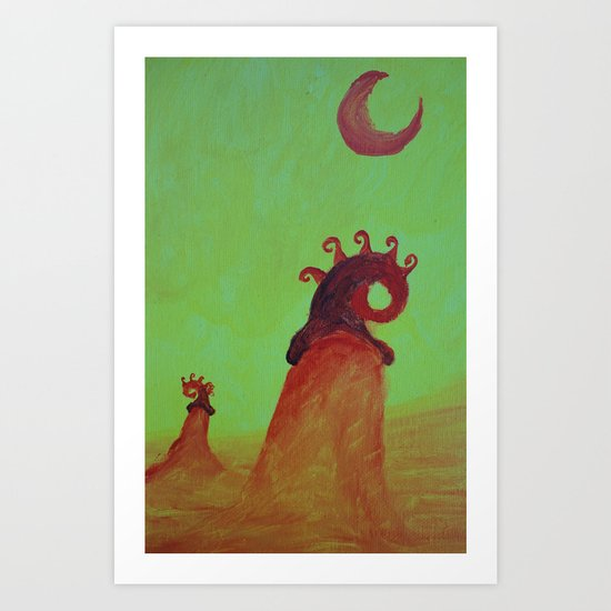 Plants and Moon Art Print