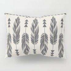 Tribal Feathers-Black & Cream Pillow Sham