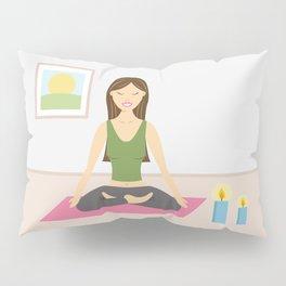 Yoga Girl In Lotus Pose Cartoon Illustration Pillow Sham