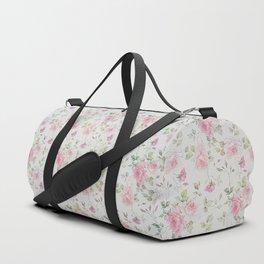 Elegant blush pink white vintage rose floral Duffle Bag