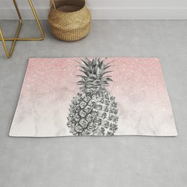 Silver pineapple ombre rose gold glitter and marble Rug