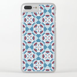 Simple geometric boat helm in blue and red Clear iPhone Case