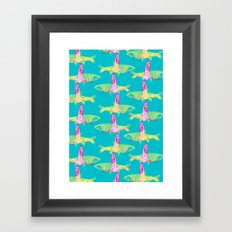 Flamingos and Fish Framed Art Print