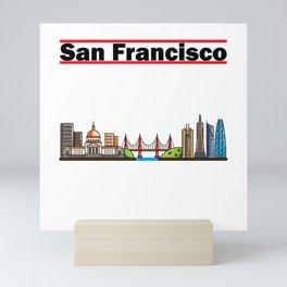 San Francisco - California City Skyline Mini Art Print