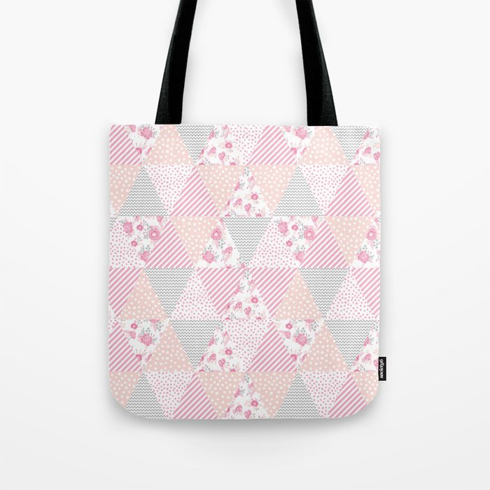 Pink soft flowers triangle quilt pattern print for home decor nursery craft room Tote Bag