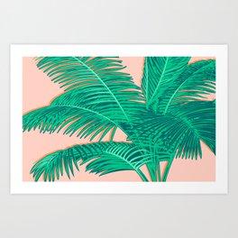 Palm trees on pink Art Print