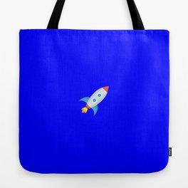 Rocket emoji on internet blue Tote Bag