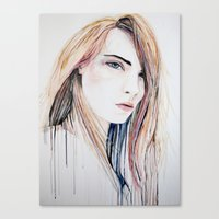 cara delevingne Canvas Prints featuring Cara Delevingne by Lenas 9th Art