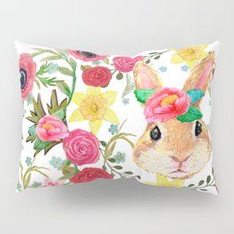 Easter rabbit with spring flowers, watercolor Pillow Sham