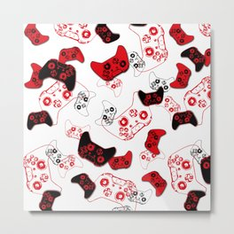 Video Game White and Red Metal Print